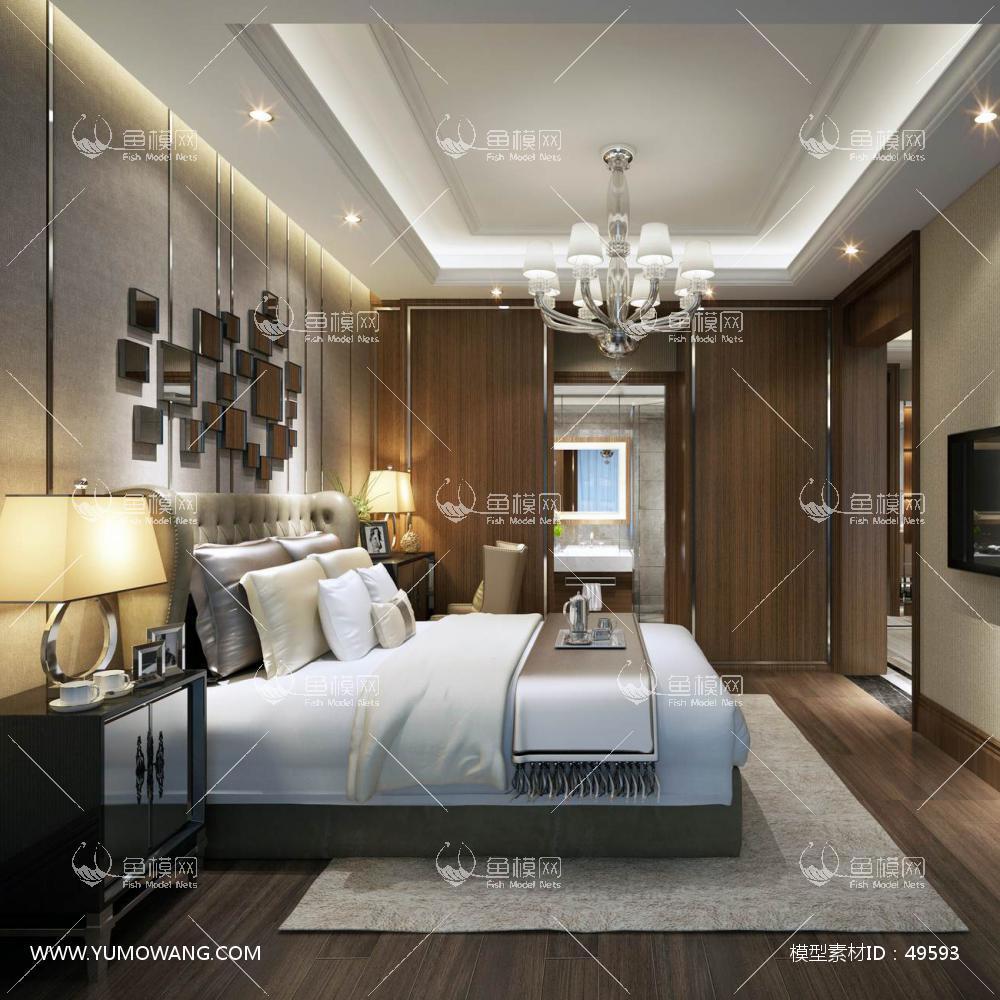 轻奢风格整体家装卧室空间主卧室3D模型下载-[ID]49593