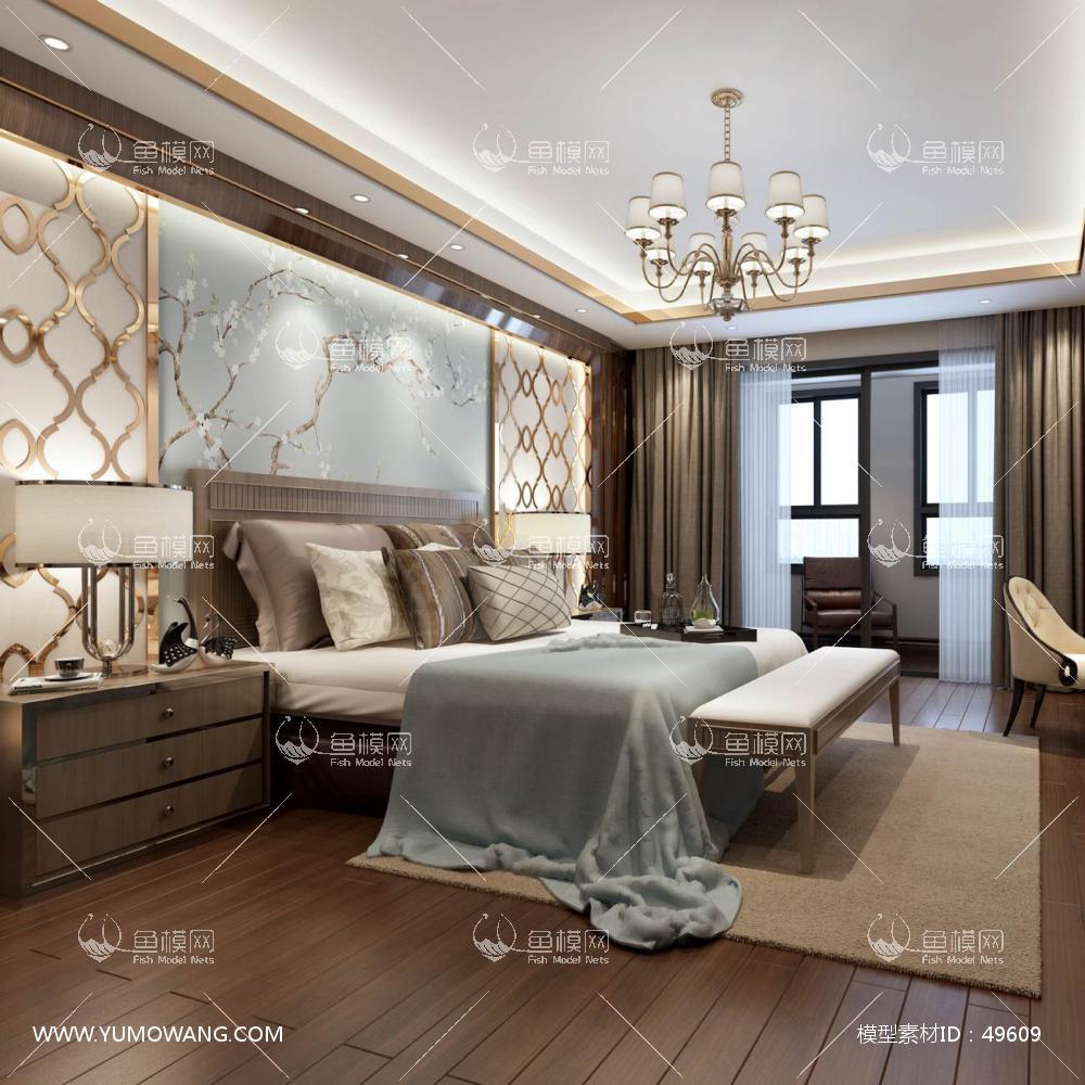 轻奢风格整体家装卧室空间主卧室3D模型下载-[ID]49609