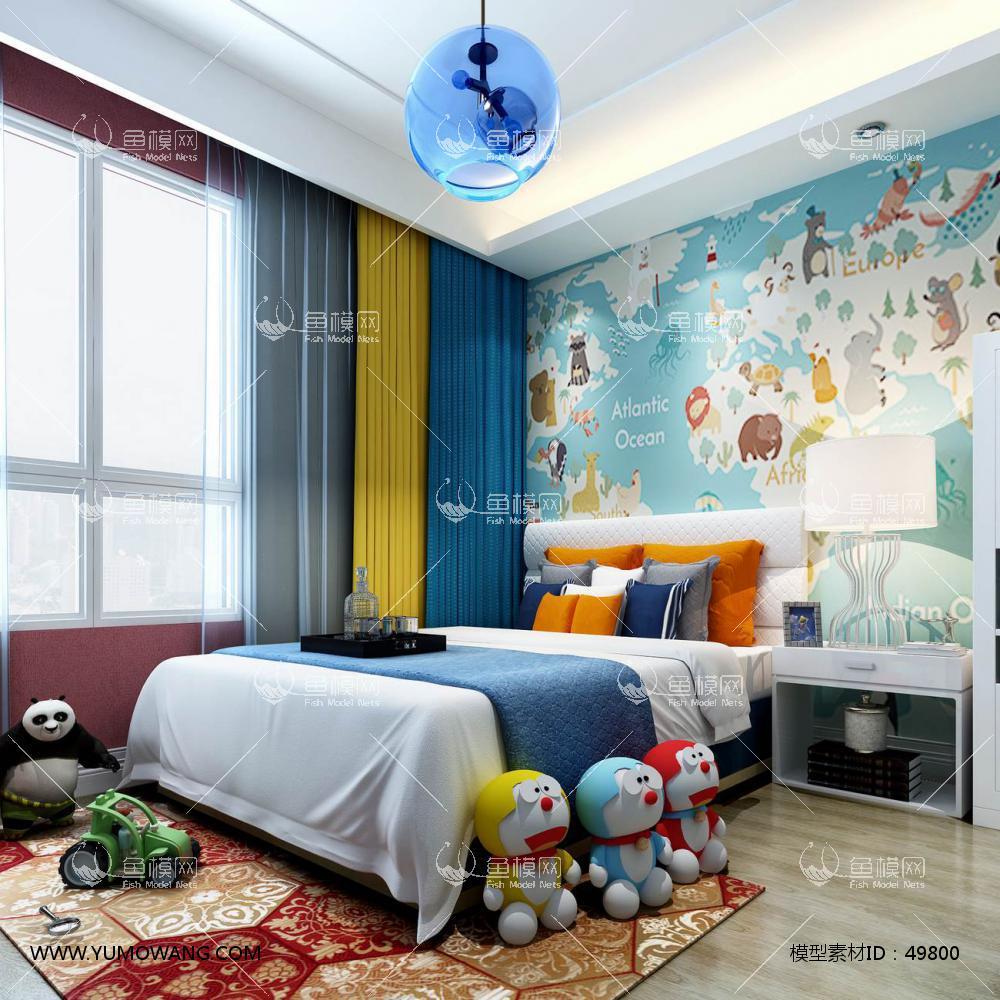 现代风格整体家装卧室空间儿童房3D模型下载-[ID]49800