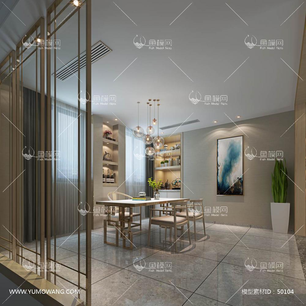 轻奢风格整体家装书房空间3D模型下载-[ID]50104