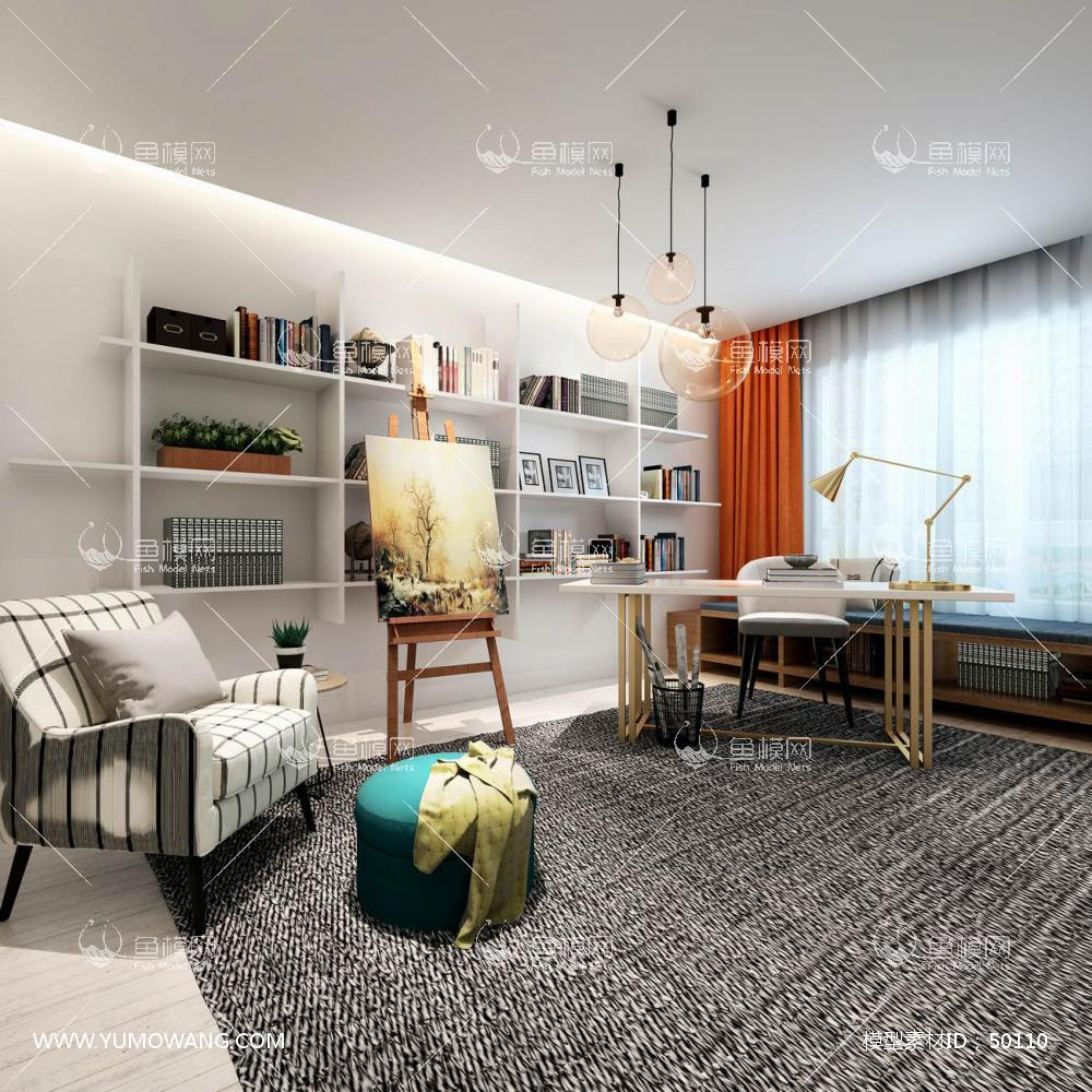 轻奢风格整体家装书房空间3D模型下载-[ID]50110
