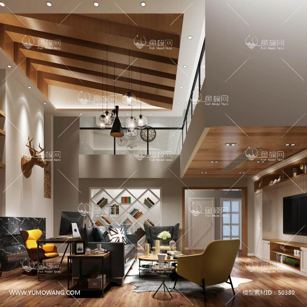现代风格整体家装客厅空间3D模型下载-[ID]50380