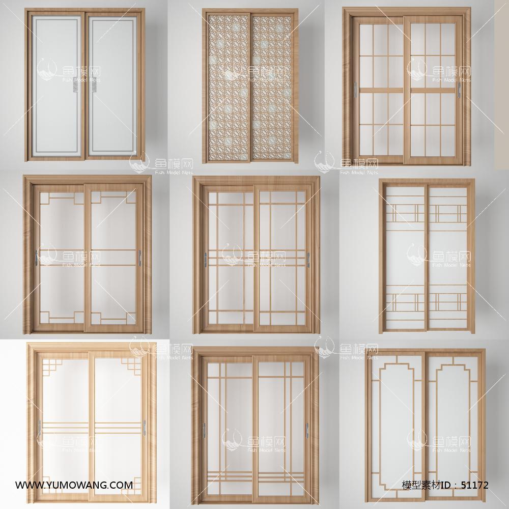 3D厨房阳台玻璃门组合3D模型下载-[ID]51172