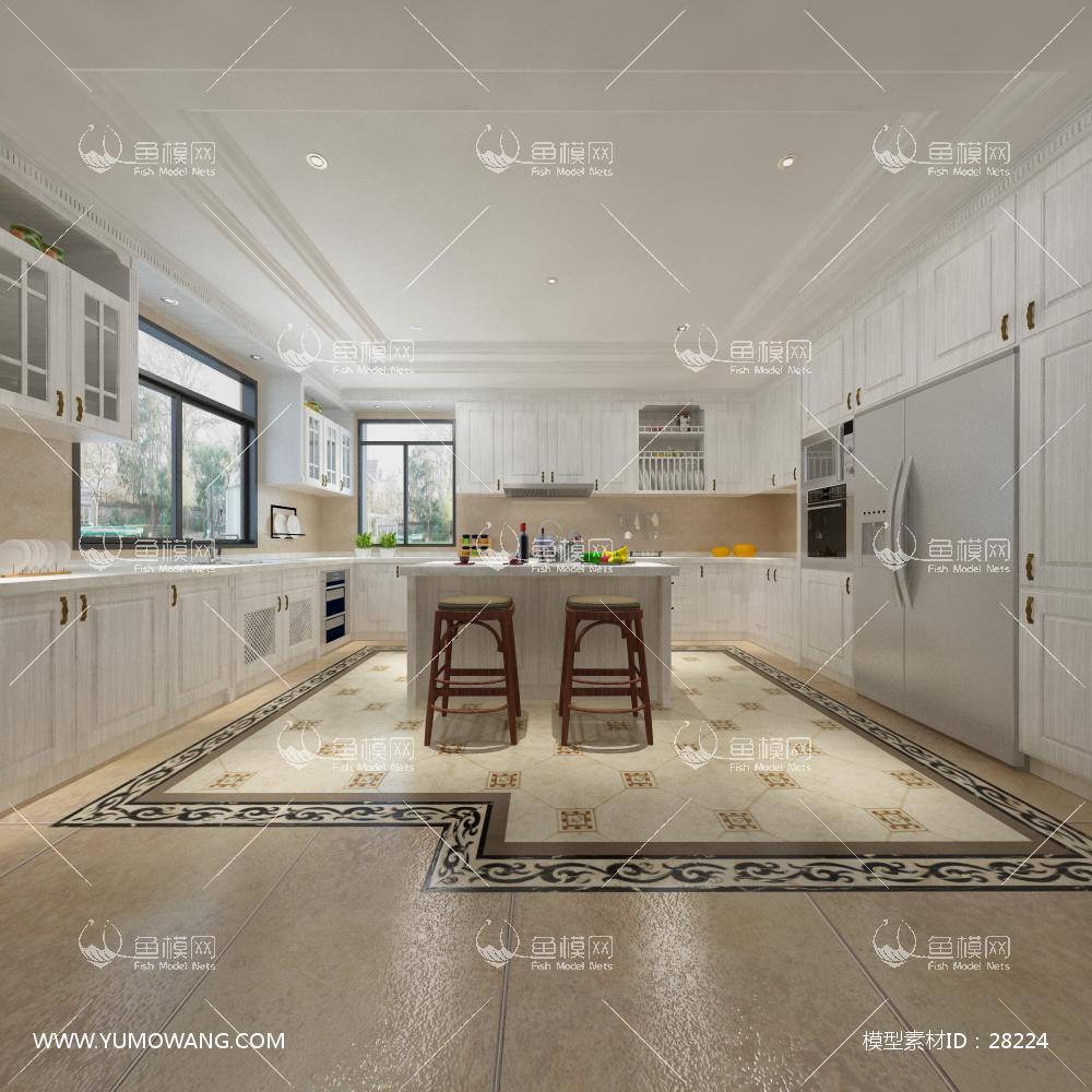 现代风格厨房3D模型下载-[ID]28224