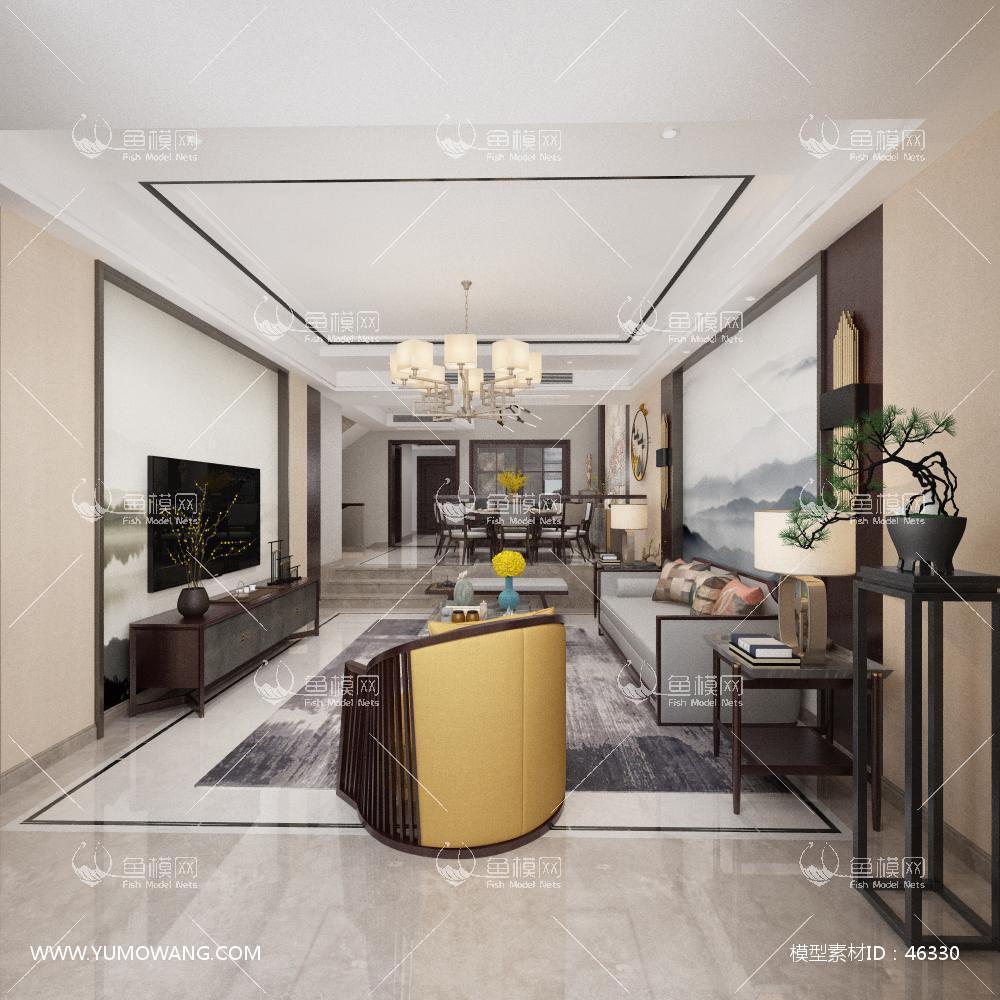 新中式风格客餐厅3D模型下载-[ID]46330