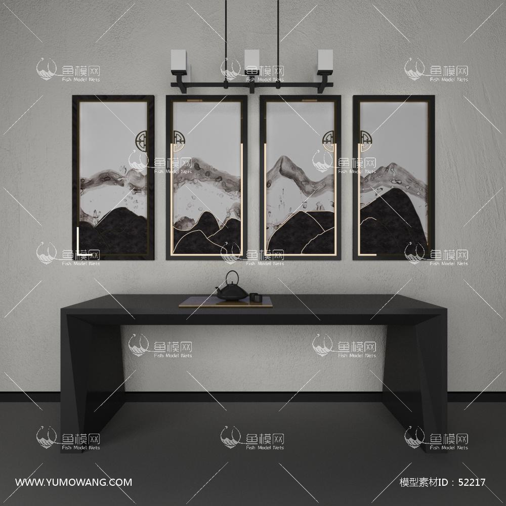 新中式案几装饰画组合3D模型下载-[ID]52217