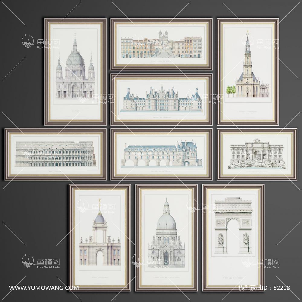 美式建筑装饰画组合3D模型下载-[ID]52218