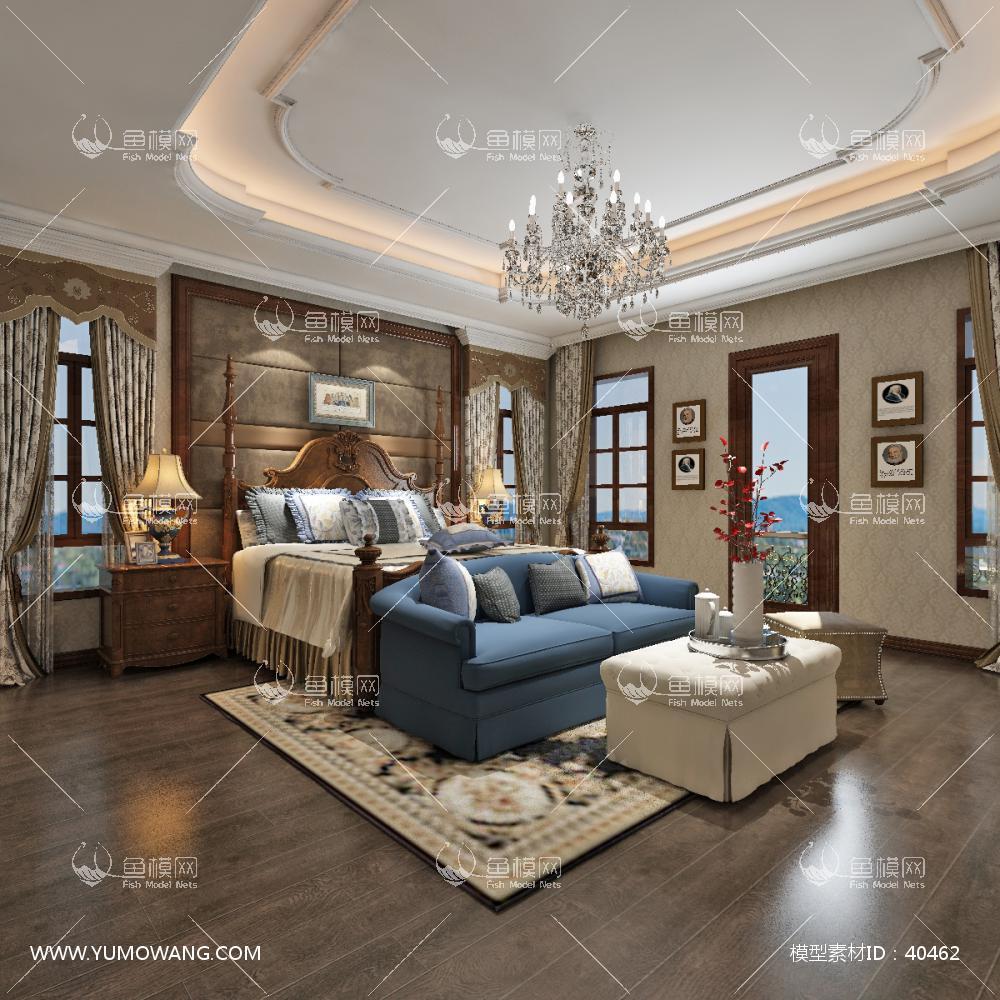 美式风格主卧室3D模型下载-[ID]40462