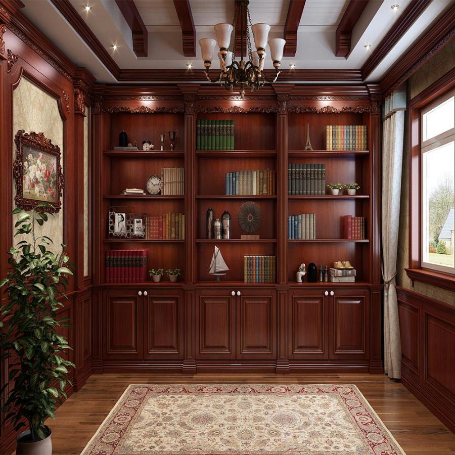 欧式法式深色书房书柜3D模型下载