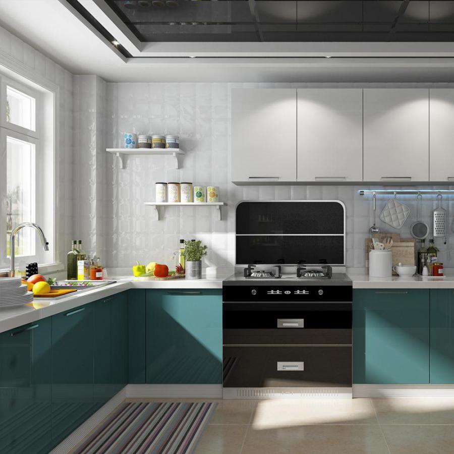 套色现代白蓝橱柜厨房3d模型下载