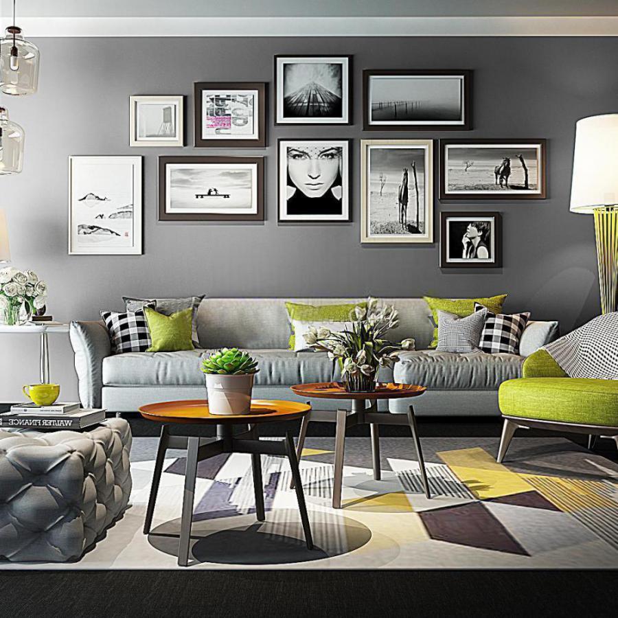 北欧沙发照片墙装饰组合3d模型下载