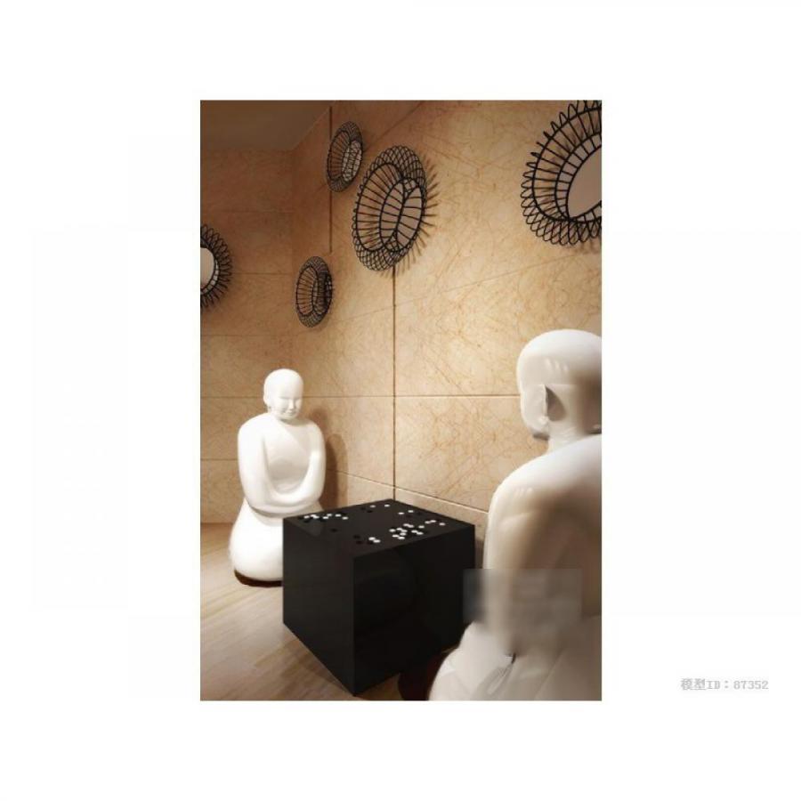 中式僧侣下围棋雕像3D模型下载