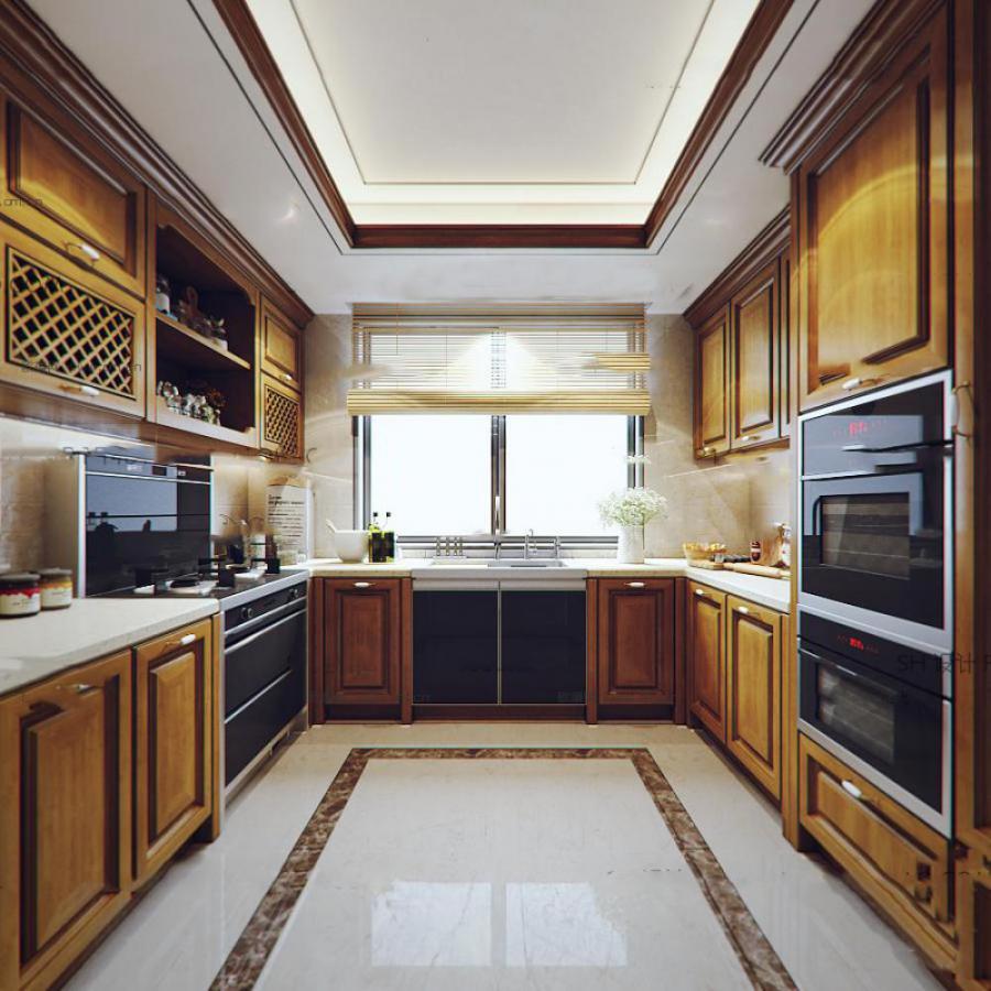 美式实木厨房橱柜3d模型下载