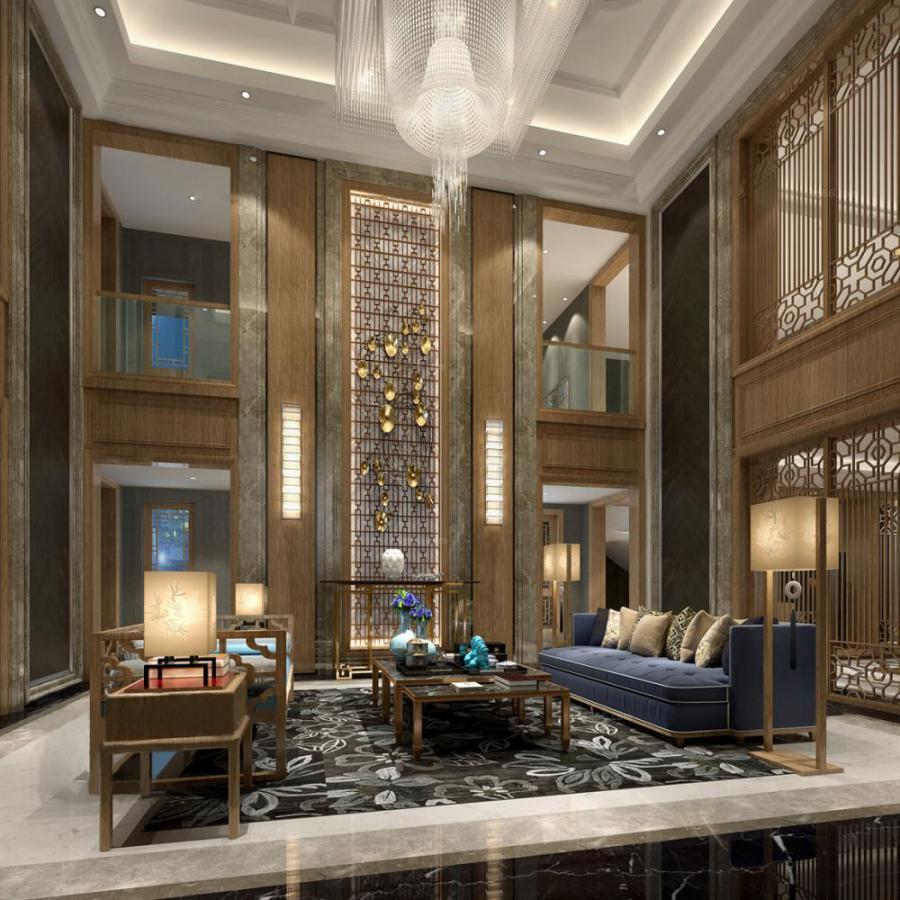 中式整体家装客厅空间83d模型下载