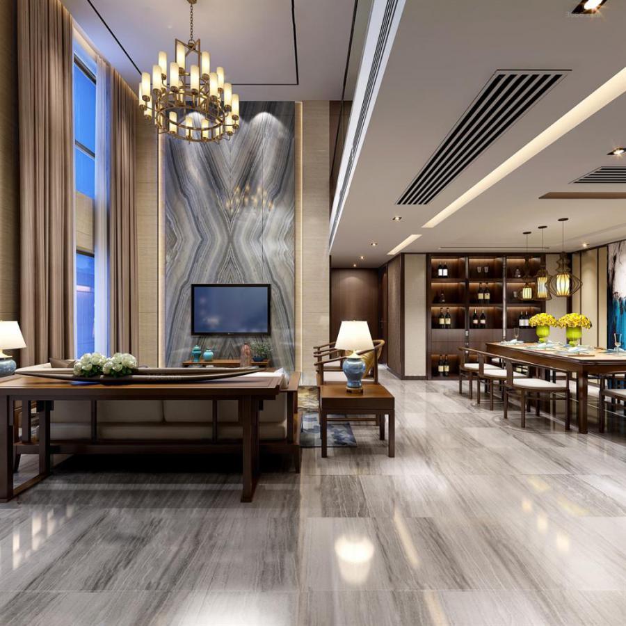 中式整体家装客厅空间283d模型下载
