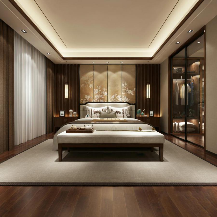 现代整体家装卧室空间173d模型下载
