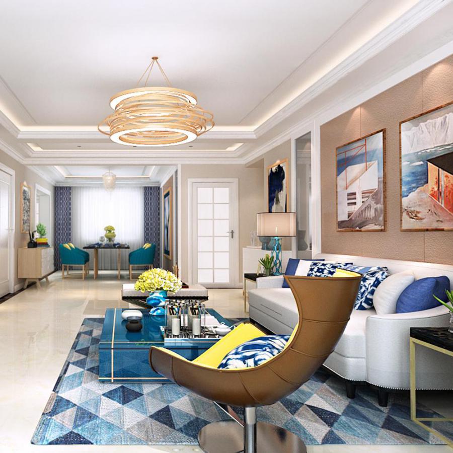 现代风格客餐厅及厨房整装设计3d模型下载