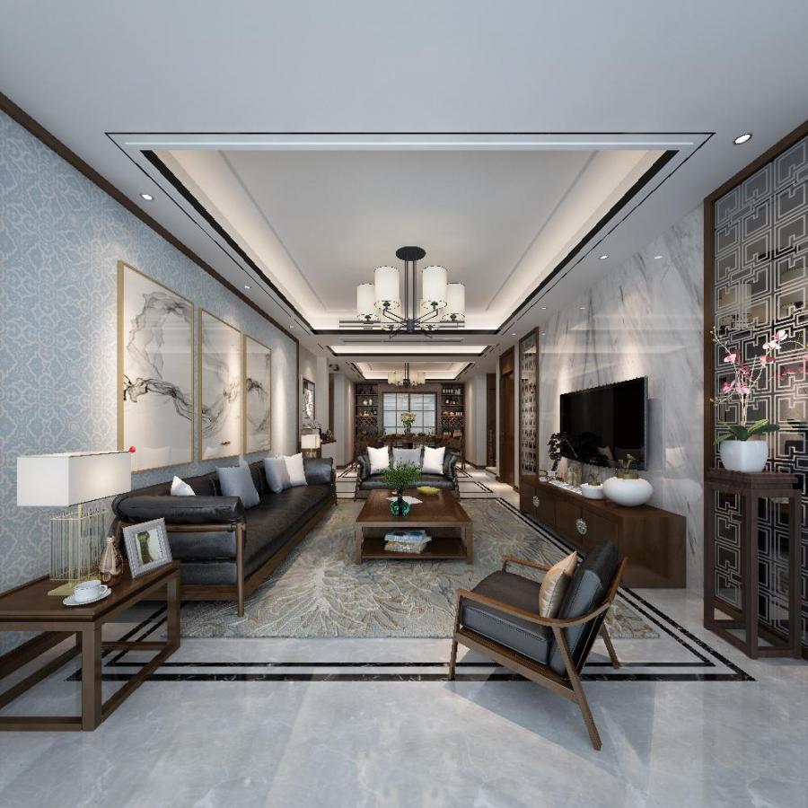 淡雅新中式风格客餐厅3d模型下载