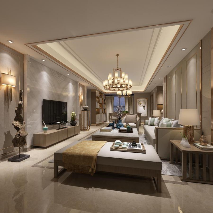 简约新中式客餐厅3d模型下载