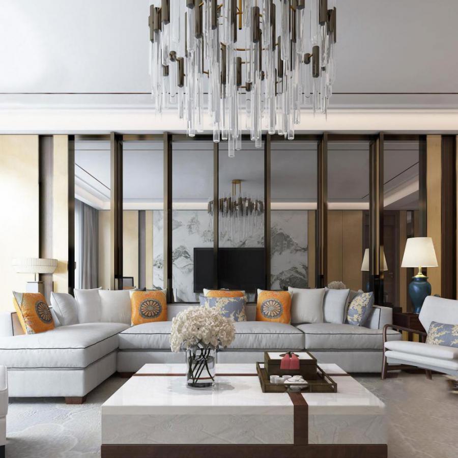 新中式豪华客厅3d模型下载