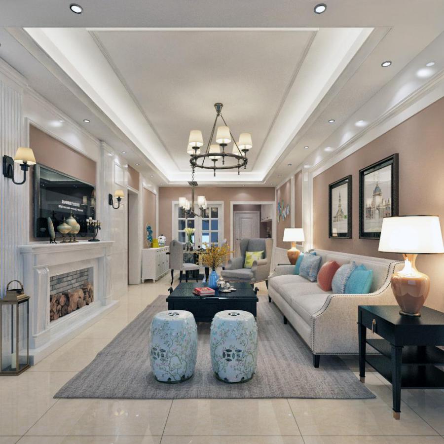 北欧整体家装客厅空间3d模型下载