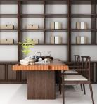 新中式书桌椅陈设品组合3d模型免费下载