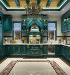 法式蓝色描金厨房橱柜3D模型下载-[ID]19553