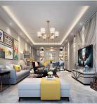 轻奢风格整体家装客厅空间3D模型下载-[ID]49005
