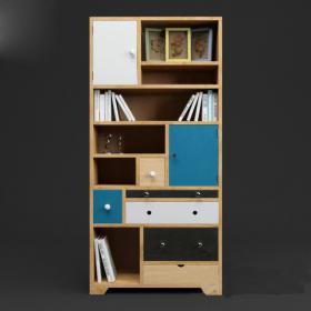 现代北欧装饰书柜3d模型免费下载