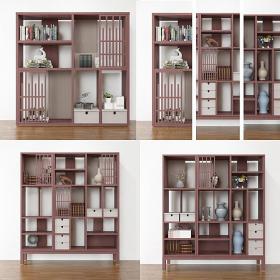 新中式书柜组合3d模型免费下载