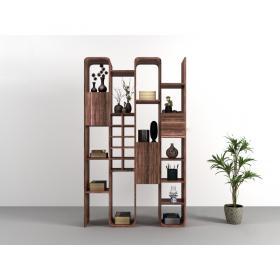 中式实木书架书籍装饰摆件盆栽组合3d模型免费下载