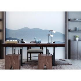 新中式书房桌椅组合3d模型免费下载