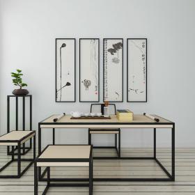 新中式书桌椅挂画组合、3d模型免费下载