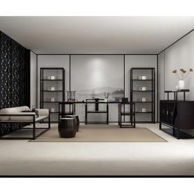 新中式书桌椅装饰柜沙发组合3d模型免费下载