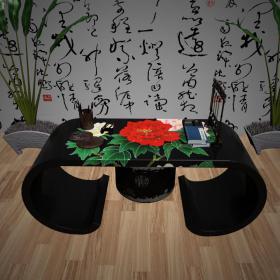 中式彩绘书桌3d模型免费下载