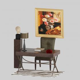 混搭皮质书桌椅3d模型免费下载