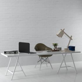 现代实木工作桌 (3)3d模型免费下载