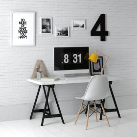 现代实木工作桌 (4)3d模型免费下载