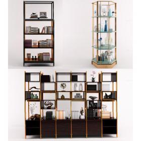 书柜货架组合3d模型免费下载