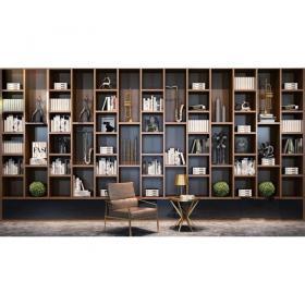 现代书柜单椅组合3d模型免费下载