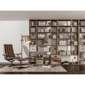现代书柜书架休闲椅组合3d模型免费下载