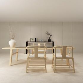 新中式书桌餐桌椅组合3d模型免费下载