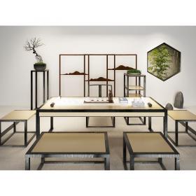 现代新中式书桌椅组合3d模型免费下载