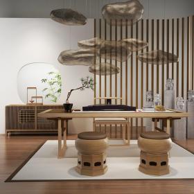 新中式书房茶室3d模型免费下载