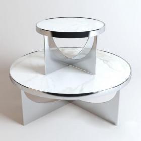 现代白色铁艺茶几3d模型免费下载