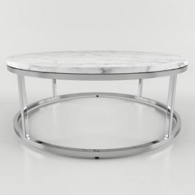 现代金属大理石圆形茶几3d模型免费下载