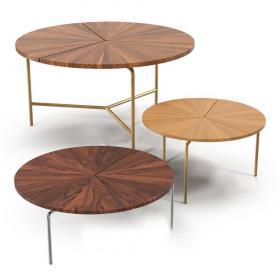 现代实木圆形茶几43d模型免费下载