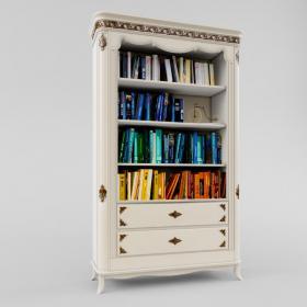 欧式白色文件书柜3d模型免费下载