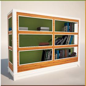 现代实木文件书柜3d模型免费下载