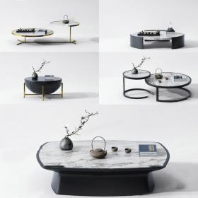 新中式茶几组合3d模型免费下载